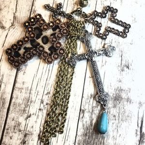Jewelry - 4 cross tritone western style tassel necklace